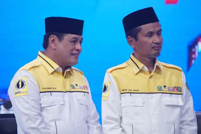 Pasangan calon Gubernur-calon Wakil Gubernur Sulsel nomor urut satu, Nurdin Halid-Abdul Aziz Qahhar Mudzakkar