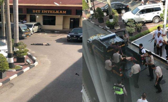 Markas Polda Riau (Mapolda) Riau tiba-tiba diserang sejumlah terduga teroris yang mengendarai sebuah mobil Avanza warna putih, Rabu (16/5/2018) pagi tadi, sekitar pukul 09.00.