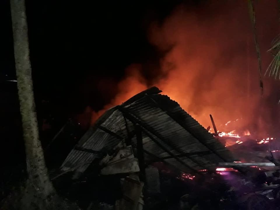 Kebakaran yang terjadi di Desa Buangin, Sabbang, Luwu Utara