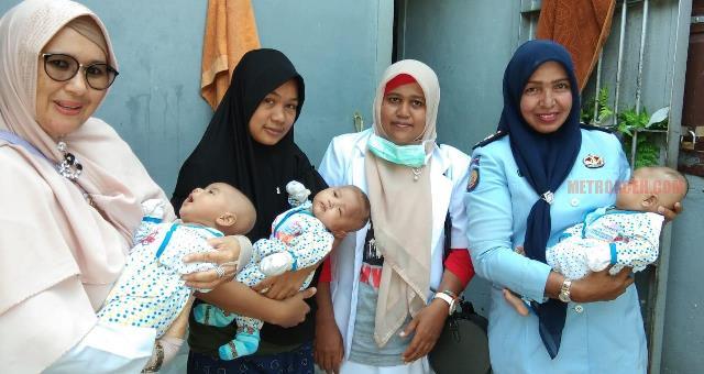BAYI kembar tiga buah hati Magfirah binti Zakirsyah (27) ikut ditahan di Rutan Bireuen, Aceh. Sebab, ibu bayi kembar tiga yang usianya masih berusia tiga bulan ini ditahan, sehingga bayi malang itu ikut menginap di penjara. (foto istimewa/metro aceh)